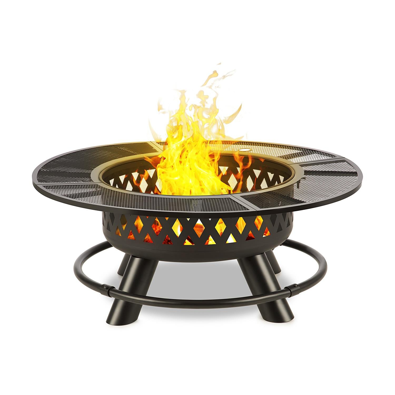 Blumfeldt Rosario Brasero 3 en 1 brasero • Fogata de jardín • Parrilla de 70 cm • Grill para Patio o terraza • Mesa de 120 cm • Tablero de Mesa Acero • para carbón o leña • Atizador