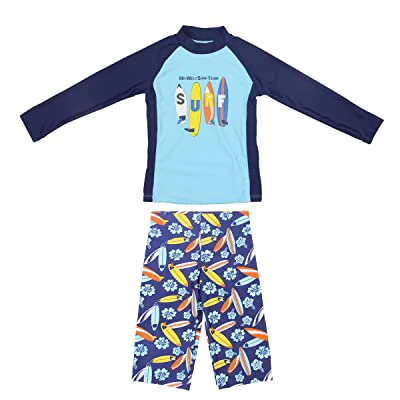 BIKMAN Uv Sun Protection Long Sleeve Rash Guard Set Boys Two-piece Surf Swim Suit