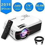 【Nouvelle Version】 ABOX 2400 Lumens Vidéoprojecteur Portable LED LCD Projecteur HD 1080p, Mini Soutien Dolby Audio HDMI USB VGA AV SD, Retroprojecteur(Cordon HDMI Offre) T22