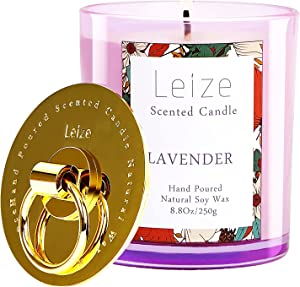 Lavender Scented Candles, Soy Wax Aromatherapy Candle, 65 Hours Long Burning, Purple Glass Jar Candles for Home Clean,Calming,Relaxing,Stress Relief, Candle Gifts for Women by Leize