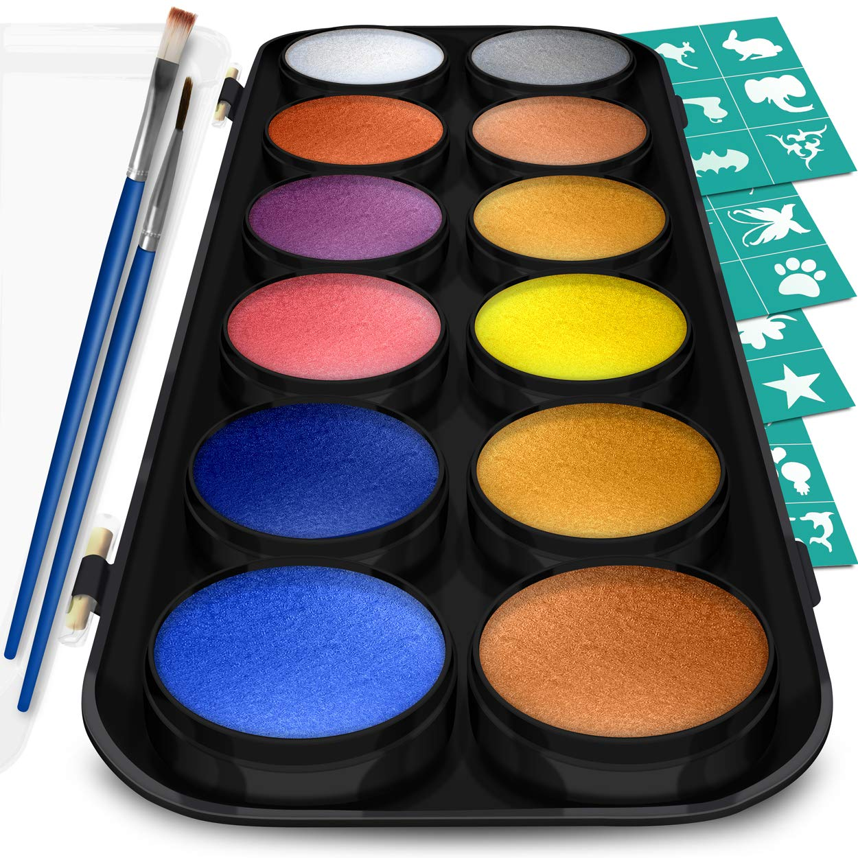 Face and Body Paint Kit, 12 Metallic Colors with Bonus Flat and Detail Paint Brushes, Comes with 30 Design Stencils, Non Toxic, Water Based and Easy On, Easy Off, FDA Compliant Crafts & Colors