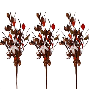 30 Pack Cotton Stems Farmhouse Style Display Filler for Floral Furniture Wedding Fall Decoration