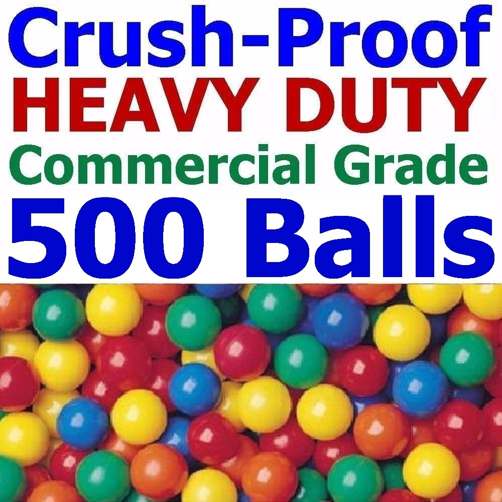 My Balls Pack of 500 Jumbo 3'' Commercial Grade HD Ball Pit Balls 5 Bright Colors; Crush-Proof; Air-Filled; Phthalate Free; BPA Free; non-Toxic; non-PVC; non-Recycled Plastic