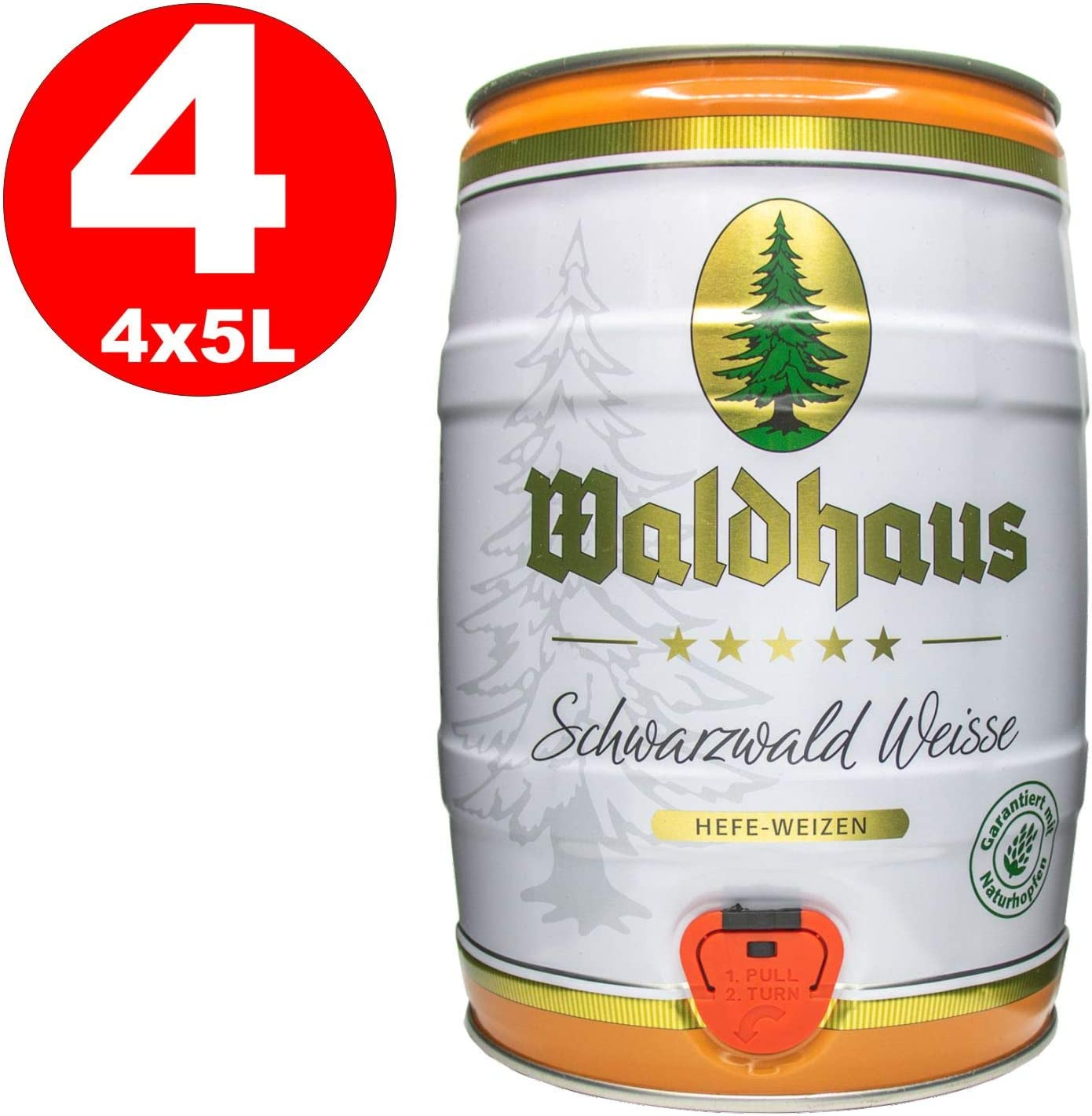 4 x Waldhaus Schwarzwald Weisse Bosque negro White Yeast Wheat 5 L Party Keg 5.6% vol.