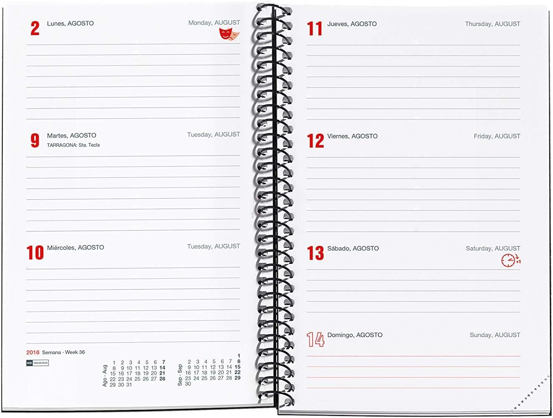 Urban Rojo Semana Vista Horizontal Castellano 155 x 213 mm Agenda 2020 Miquelrius 34005 sobremesa