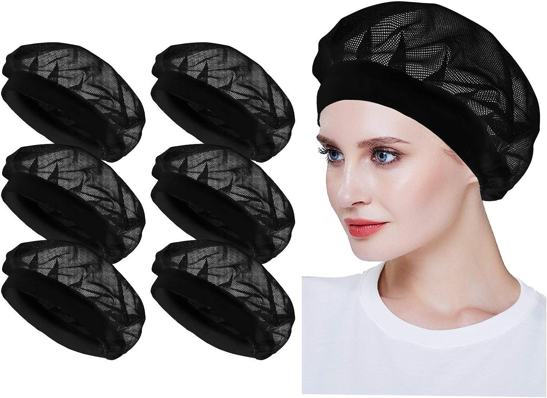 6pcs Unisex Elastic Chef Hat Kitchen Cooking Adjustable Kitchen Chef Cap Mesh Food Service Hair Nets