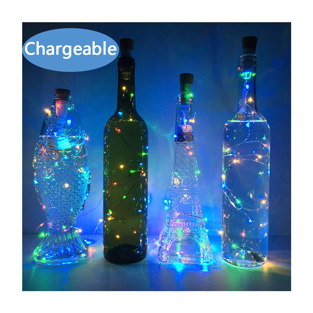 NeoJoy Wine Cork Lights Rechargeable Bottle Fairy String Lights with 15 LED for DIY Artificial Parties Centerpiece Bedroom Decoration Gift Colorful 4PCS