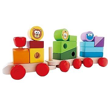 B-WARE ACOOLTOY Holzspielzeug Formen Stecken Stapel Puzzle Bunte Sortier Block Motorikspielzeug Steckspiele