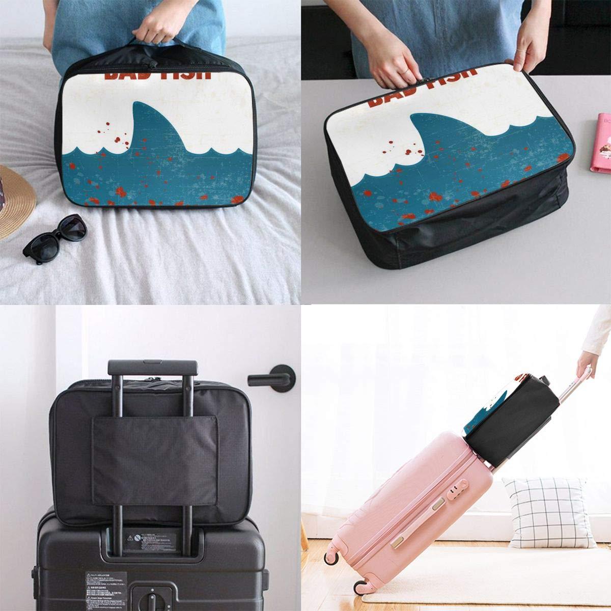 ADGAI Bad Fish Square Canvas Travel Weekender Bag,Fashion Custom Lightweight Large Capacity Portable Luggage Bag,Suitcase Trolley Bag