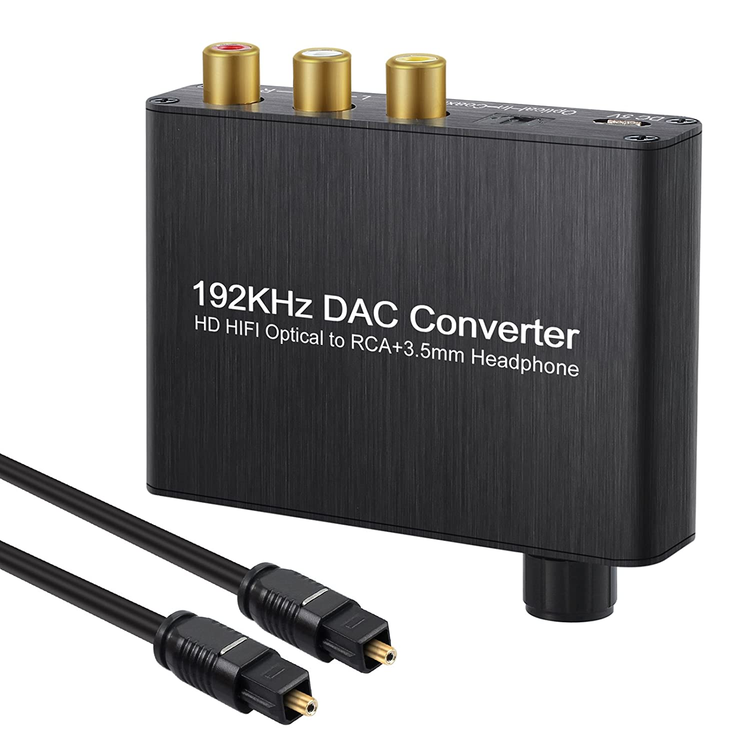 192kHz DAC Converter with Volume Adjustment Support DTS/Dolby AC3 5.1CH Digital SPDIF Coaxial Toslink to Analog Stereo Left/Right RCA 3.5mm Jack Audio Converter Proxima Direct