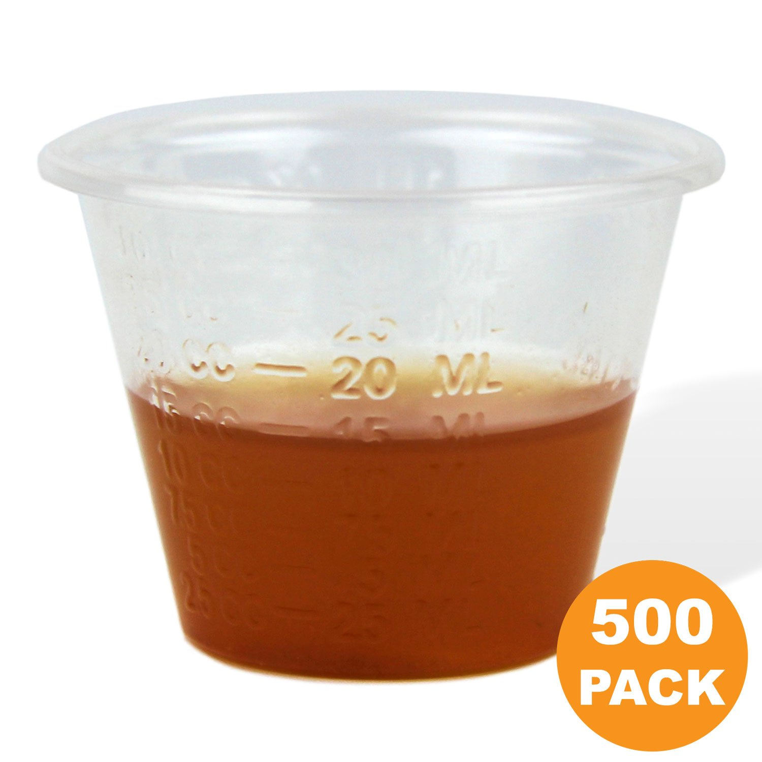 1 oz Graduated Medicine Cups – Polypropylene Disposable Measuring Cup, Mixing Cups with ML, Dram, CC, TBSP & FL oz Measurement Markings for Pill, Epoxy, Resin & Liquid/Powder - 500 Cups
