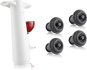 Vacu Vin Wine Saver Pump with 2 x Vacuum Bottle Stoppers (White with 4 Wine Stoppers)