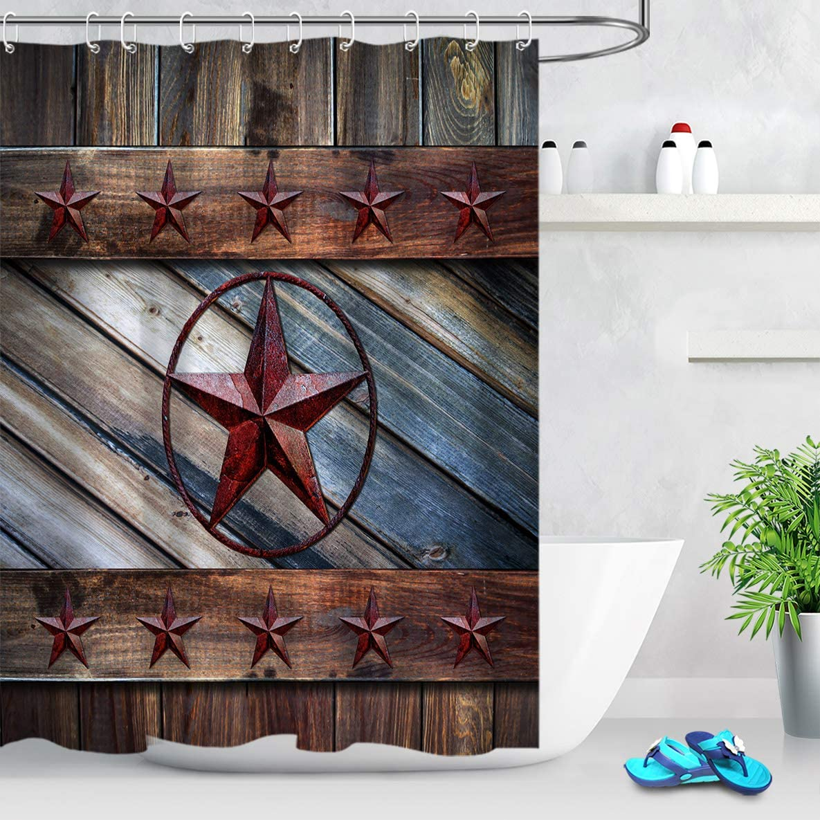 Amazon Com Ecotob Rustic Barn Star Shower Curtain Decor Country Style Farmhouse Western Texas Star On Wood Boards Shower Curtains 60x72 Inch Polyester Fabric Bathroom Decorations Bath Curtains Hooks Included Furniture Decor,What Color Shirt Matches With Olive Green Pants