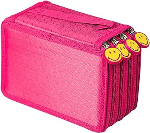 Estuche con 4 compartimentos, 72 lápices (azul) y rosa: Amazon.es: Hogar