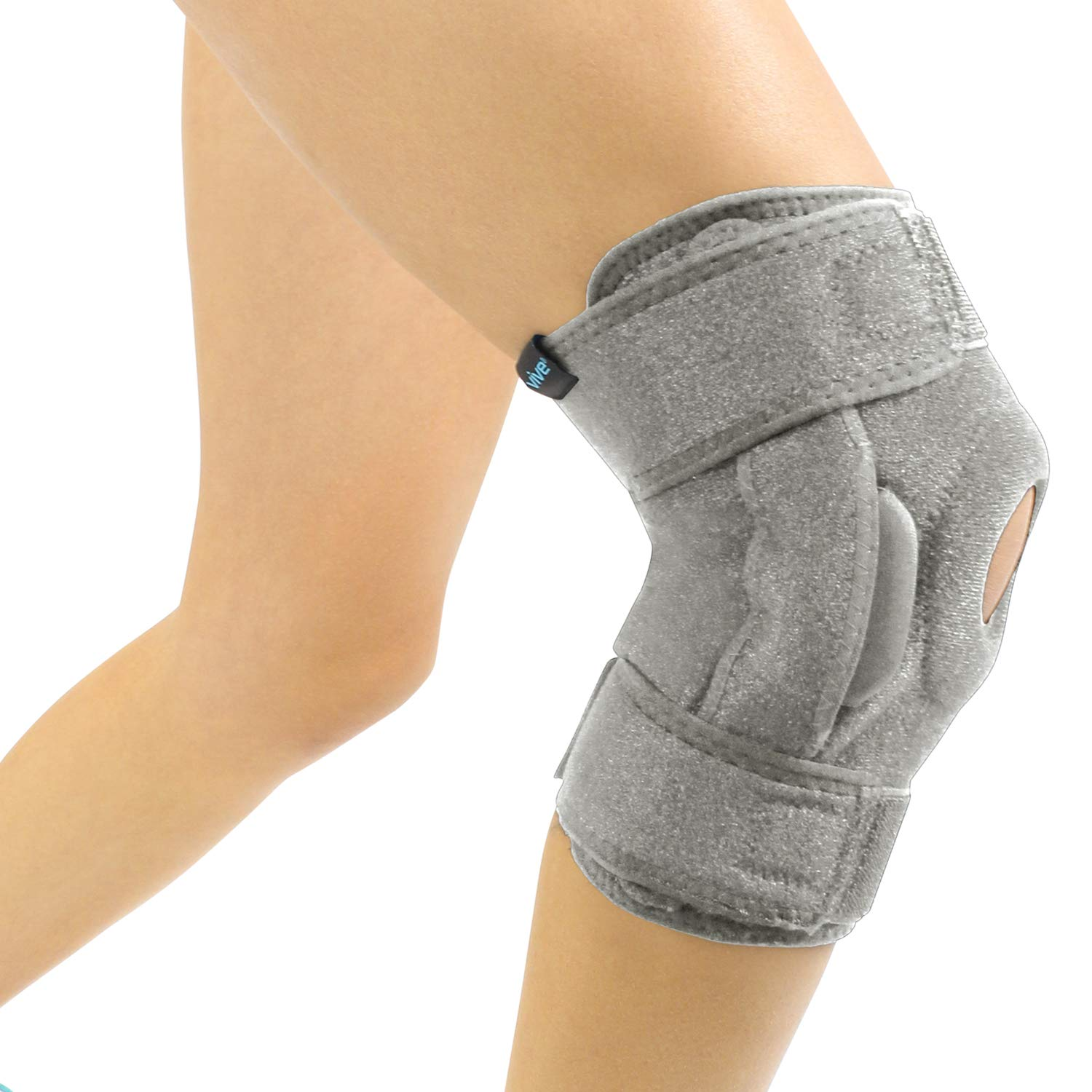 Vive Hinged Knee Brace - Open Patella Support Wrap for Women, Men - Compression for ACL, MCL, Torn Meniscus Ligament and Tendonitis - for Running, Athletic Tear and Arthritis Joint - Adjustable Strap