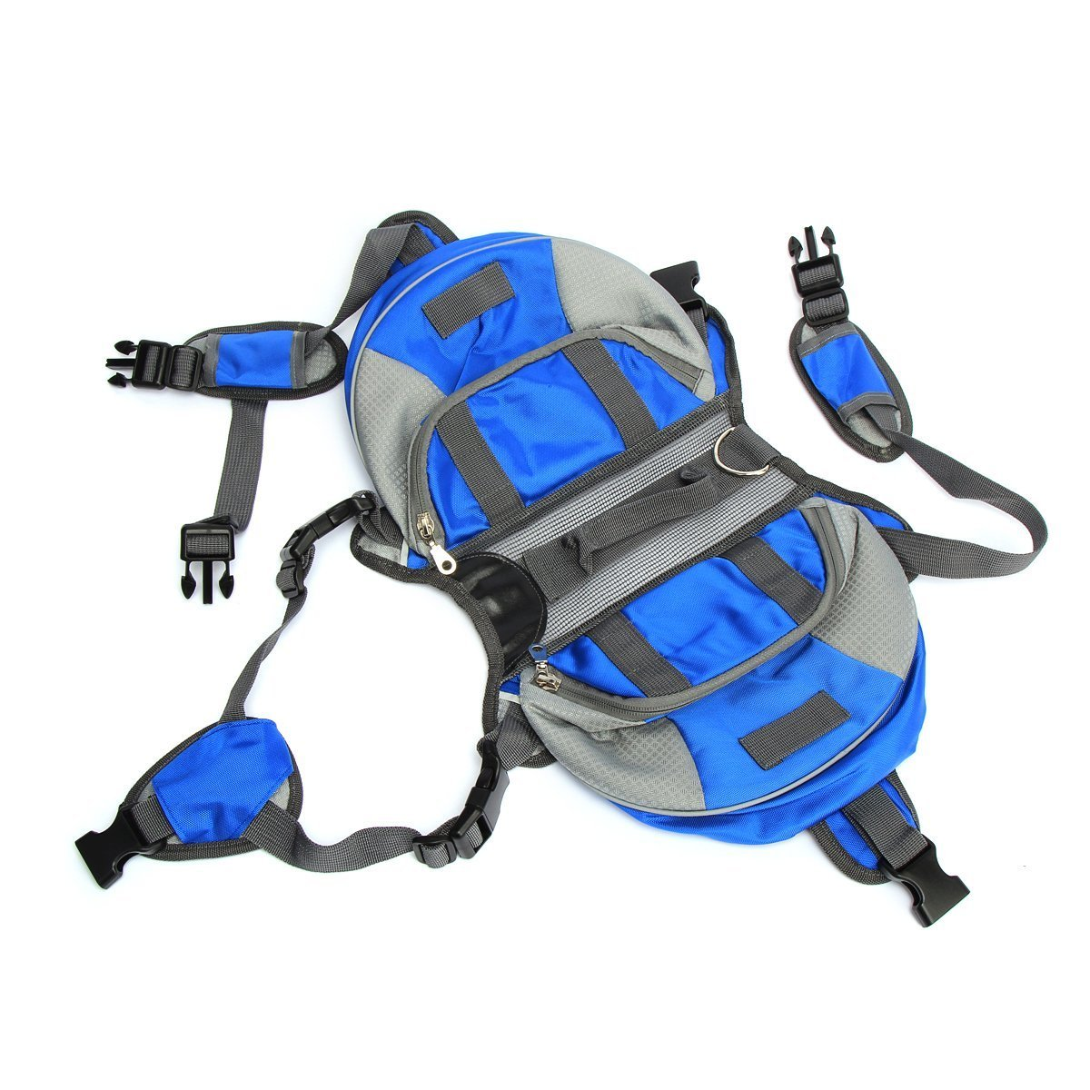 Adjustable Breathable Multifunction Oxford Pet Dog Backpack Quick Release Saddle Bag Outdoor Carrier Travel Hiking Camping (S/M/L Size) (blue, L)