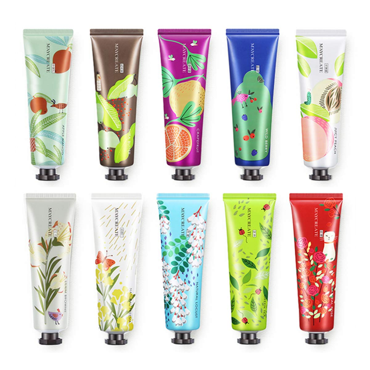 10 Pack Fruits Extract Fragrance Hand Cream,Moisturizing Hand Care Cream Travel Gift Set with Shea Butter For Men And Women-30ml (Style-1)