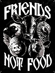 12 X 8 Inch Tin Sign Friends Not Food Vegan Vegetarian Vintage Iron Painting Metal Plate Novelty Decor Club Cafe Bar