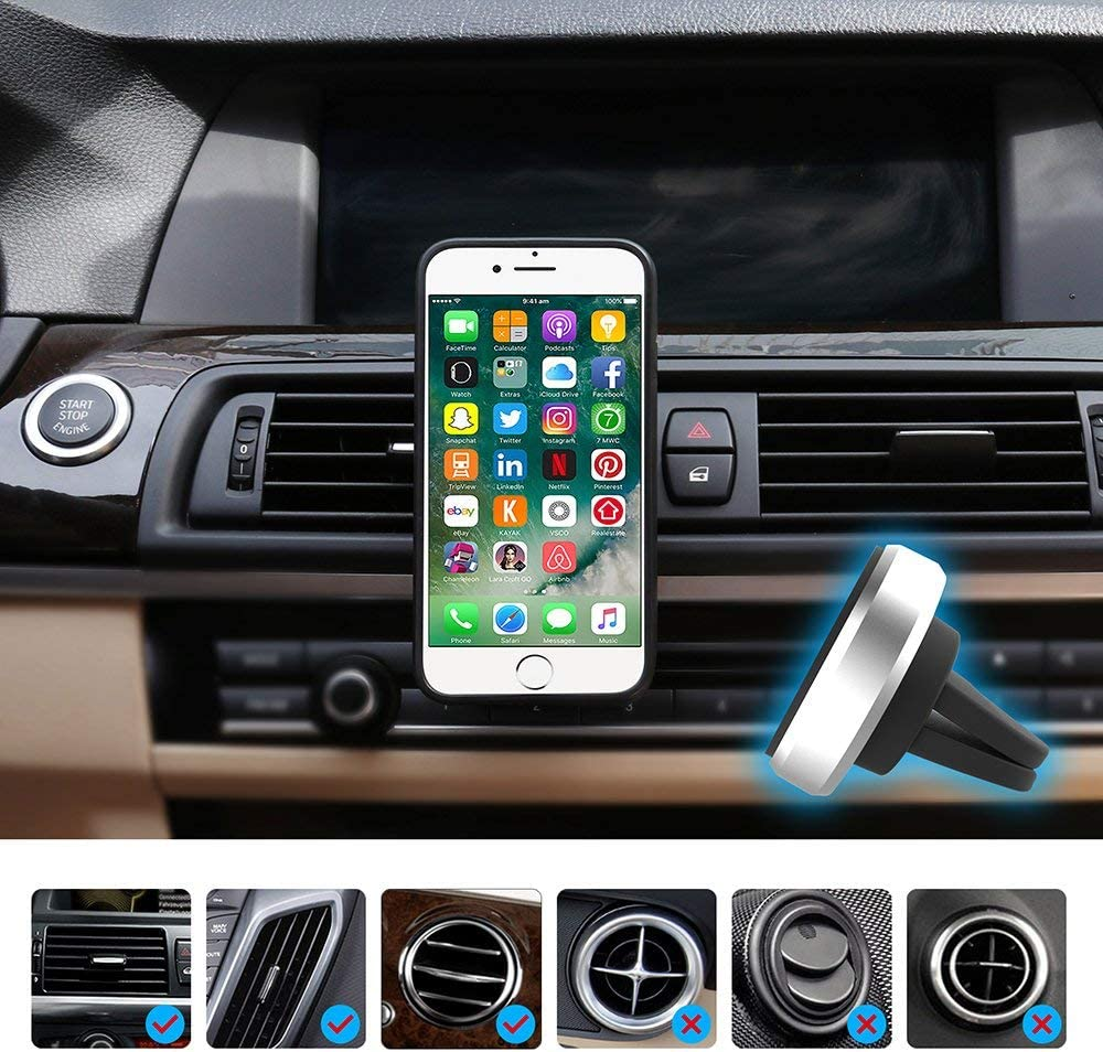 Mini Magnetic car Phone Holder Kolasels Strong Magnets with Universal Air Vent Car Mount for All Smartphones and Mini Tablets