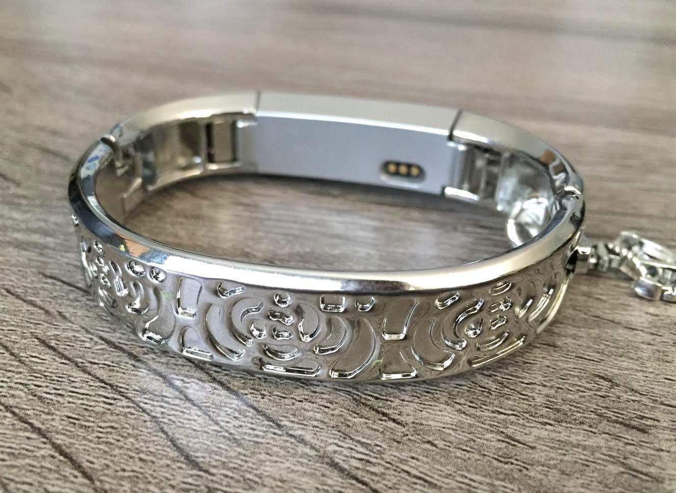 Silver Metal Band For Fitbit Alta /& Alta HR Fitness Activity Tracker Handmade Flowers Design Bangle Fitbit Alta HR Bracelet Silver Hope Cancer Awareness Ribbon Jewelry Charm Fitbit Alta Band