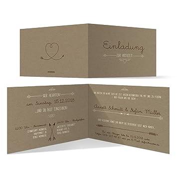10 X Hochzeit Einladungskarten Hochzeitskarten   Pfeil Mit Herz Kraftpapier  Look