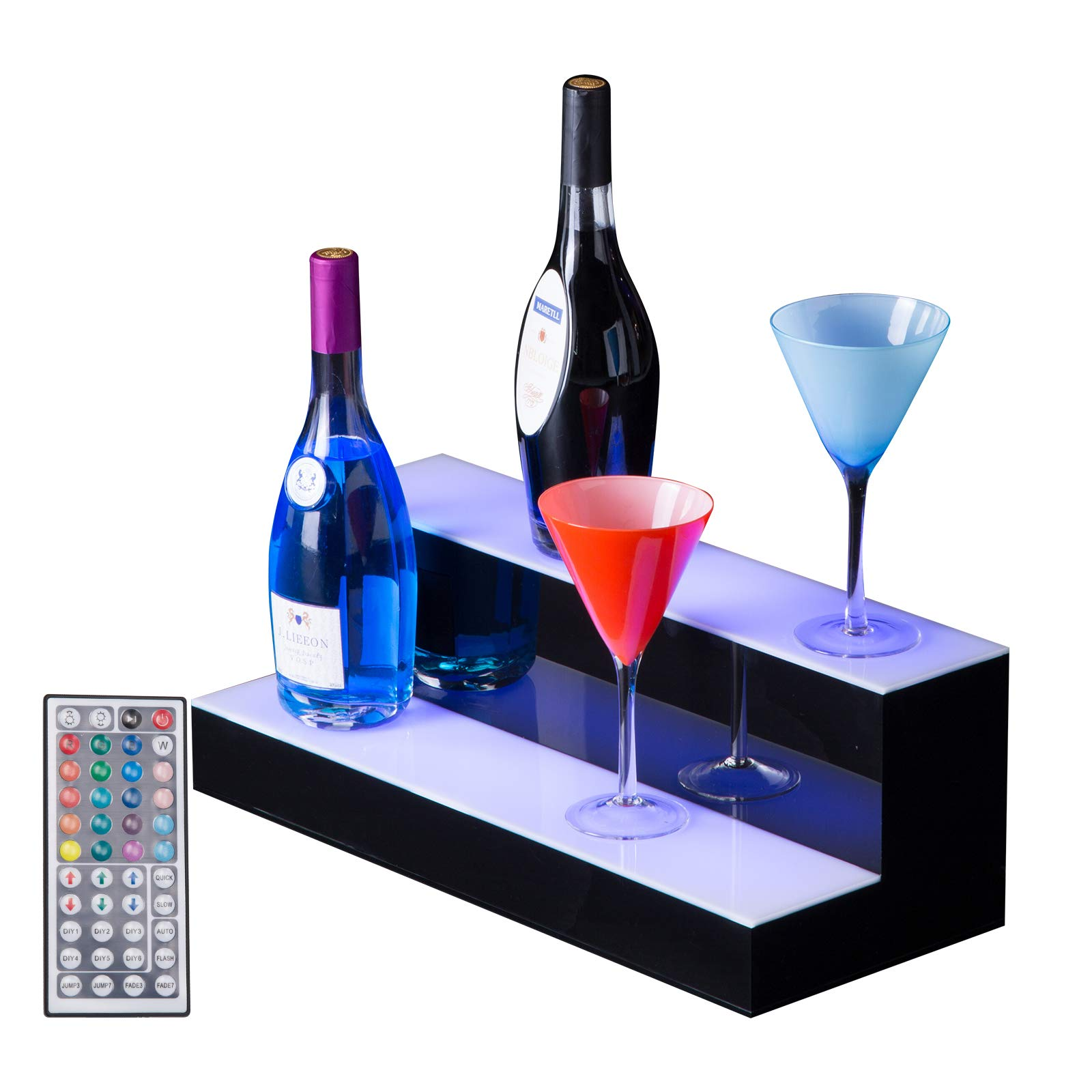 SUNCOO LED Lighted Liquor Bottle Display 20'' 2 Step Illuminated Bottle Shelf 2 Tier Home Bar Bottle Shelf Drinks Lighting Shelves High Gloss Black Finish with Remote Control