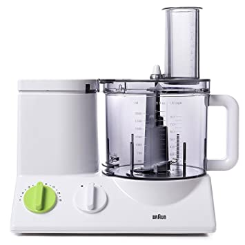 Braun FP3020 12 Cup Food Processor Ultra Quiet Powerful Motor, Includes 7  Attachment Blades +