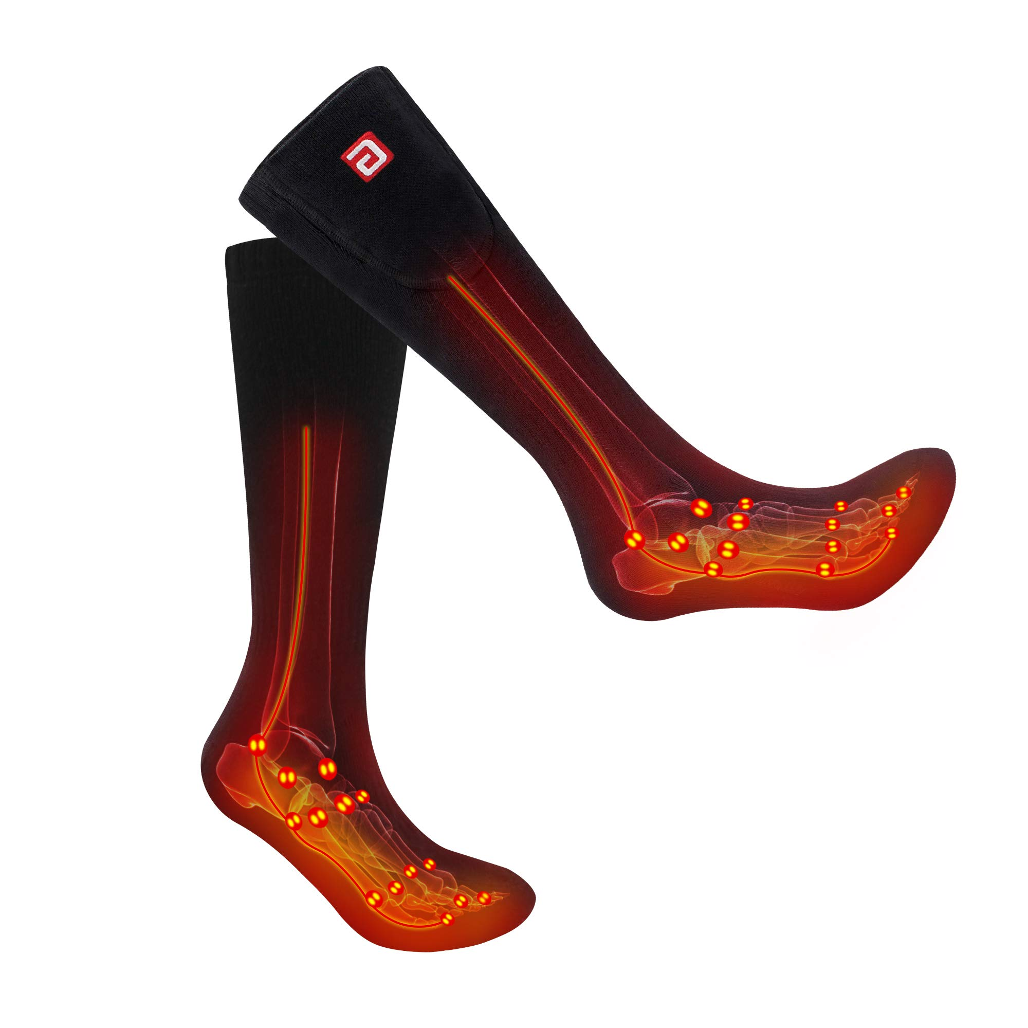 Battery Heated Socks Stockings Unisex Ski Socks Electric Rechargeable Hiking&Camping Equipment, Battery Powered Thermal Socks Kit Warm Winter Crew for Cold Feet,Thermo Thick Cotton Hosiery Heated Sox by Daintymuse