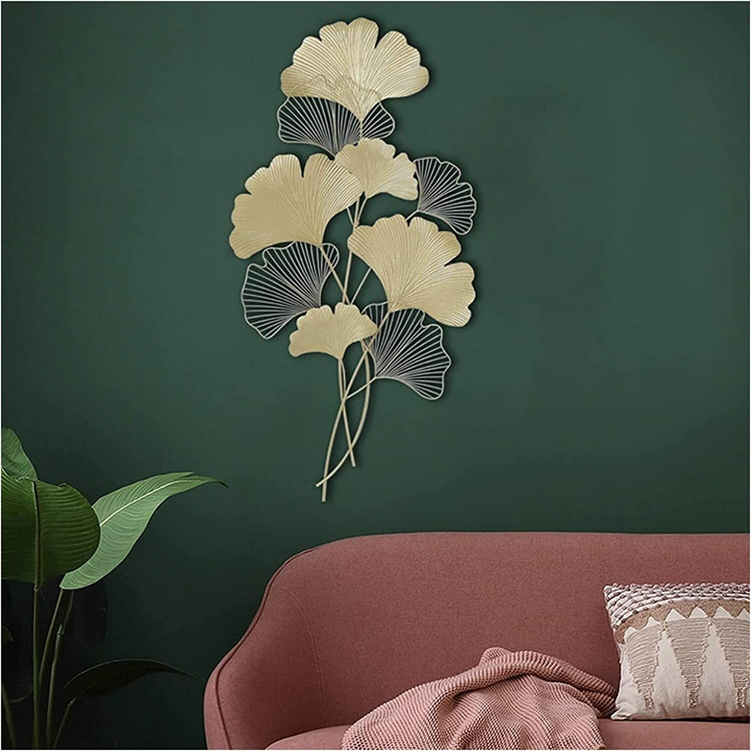 Home Metal Wall Decor,Golden Ginkgo Leaf Wall Hanging Decorations,Gold Metal Art Wall Sculpture,Christmas Leaves Ornament,creative Contemporary Artwork Ornament Durable Smooth For Living Room,Office 2