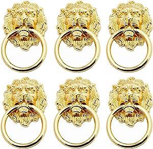 6Pcs Lion Head Handles Pulls Cabinet Knobs Antique Bronze for Door Drawer Dresser Kitchen Cupboard Furniture (Gold)