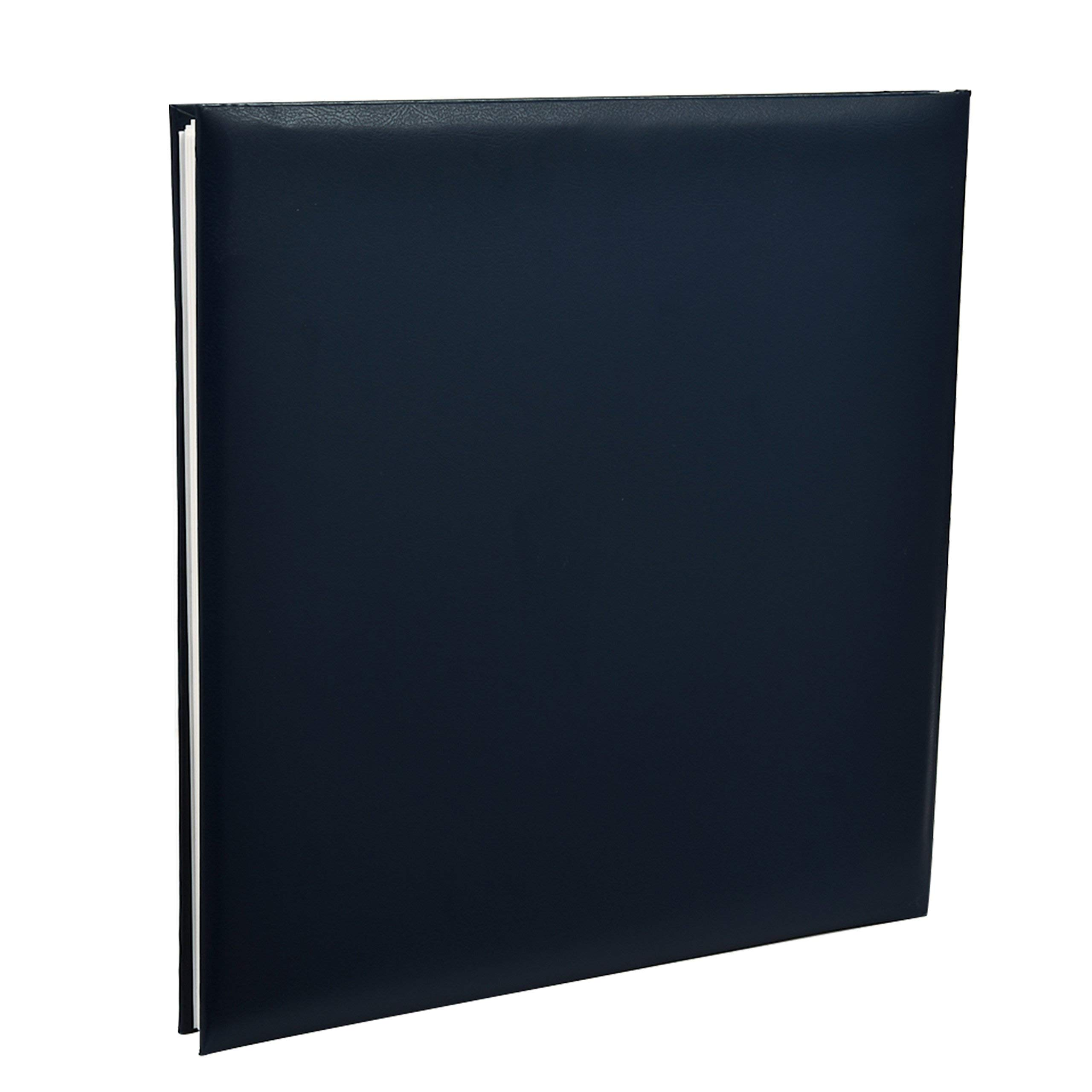 KD148 Kenro Classic Navy Blue Faux Leather Photo Album Traditional Design in Two-Tone with Gold Strip for 100 Photos A4 // 21x29.7cm with Memo Space Beside Each Photograph and Slip-in Pages Grace Series