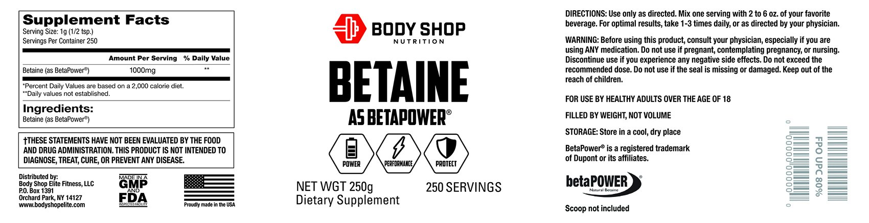 Body Shop Nutrition - 100% Pure BetaPower® Natural Betaine (Trimethylglycine) - 250g Powder - 100 Servings - Unflavored Supplement