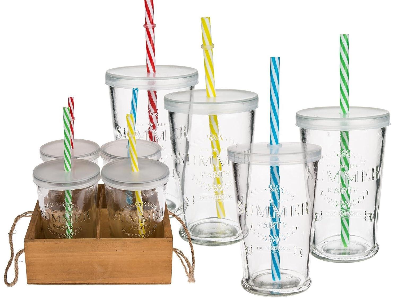 *Trendiges Trinkglas Set Summer Party – 4 Gläser mit Deckel und bunten Mehrweg-Strohhalmen*