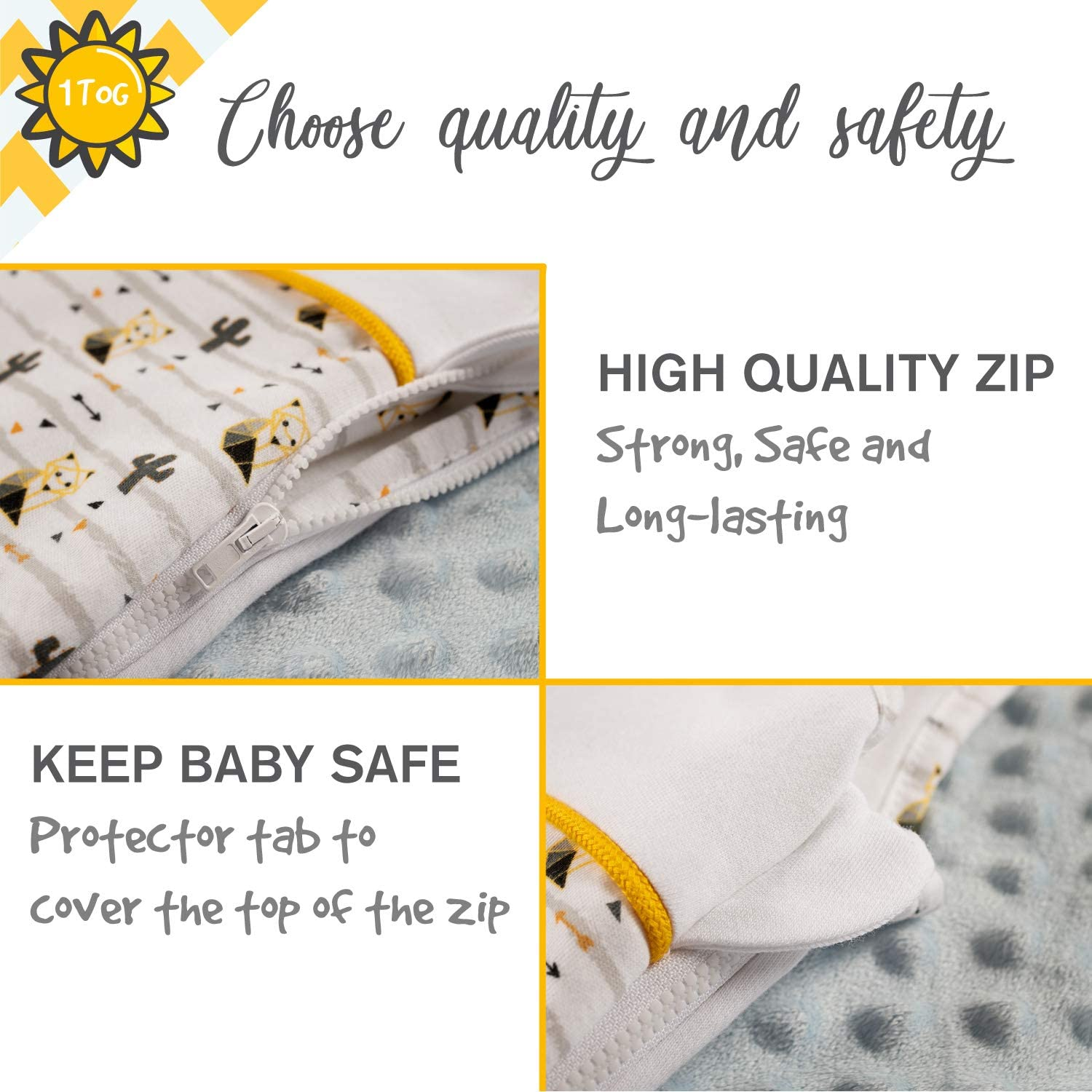 Chemical- Free Guaranteed Organic Cotton 70 cm Comfortable Sleeping Bag 2.5 Tog Soft by Sweety Fox 0-6 Months Safe Nights for Toddlers French Design Baby Sleeping Bag 4 Seasons
