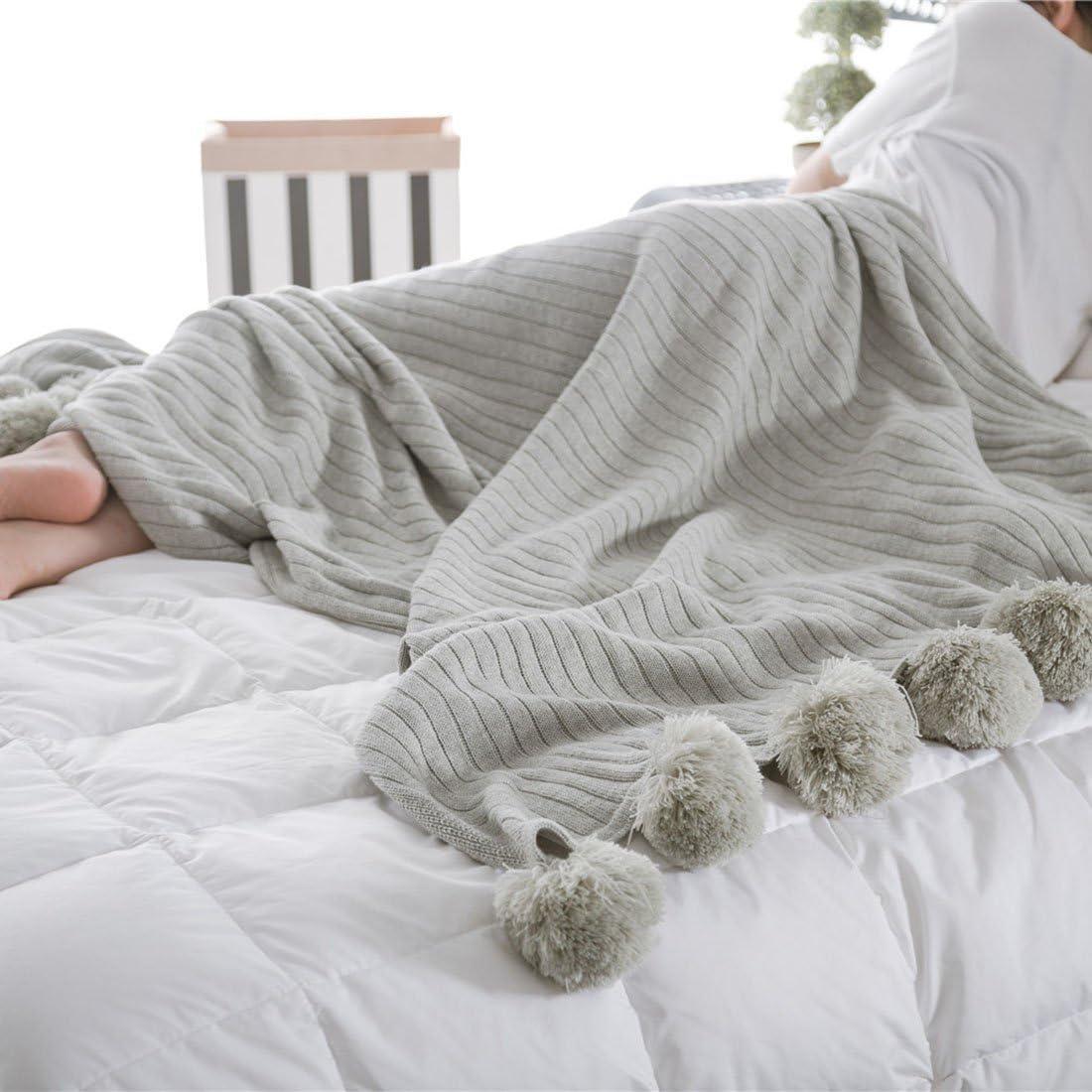 Blanketswarm - Manta de punto, 100% algodón, suave, con flecos, hipoalergénico, a rayas, de 90 x 90 cm, algodón, gris, 90 x 90 cm