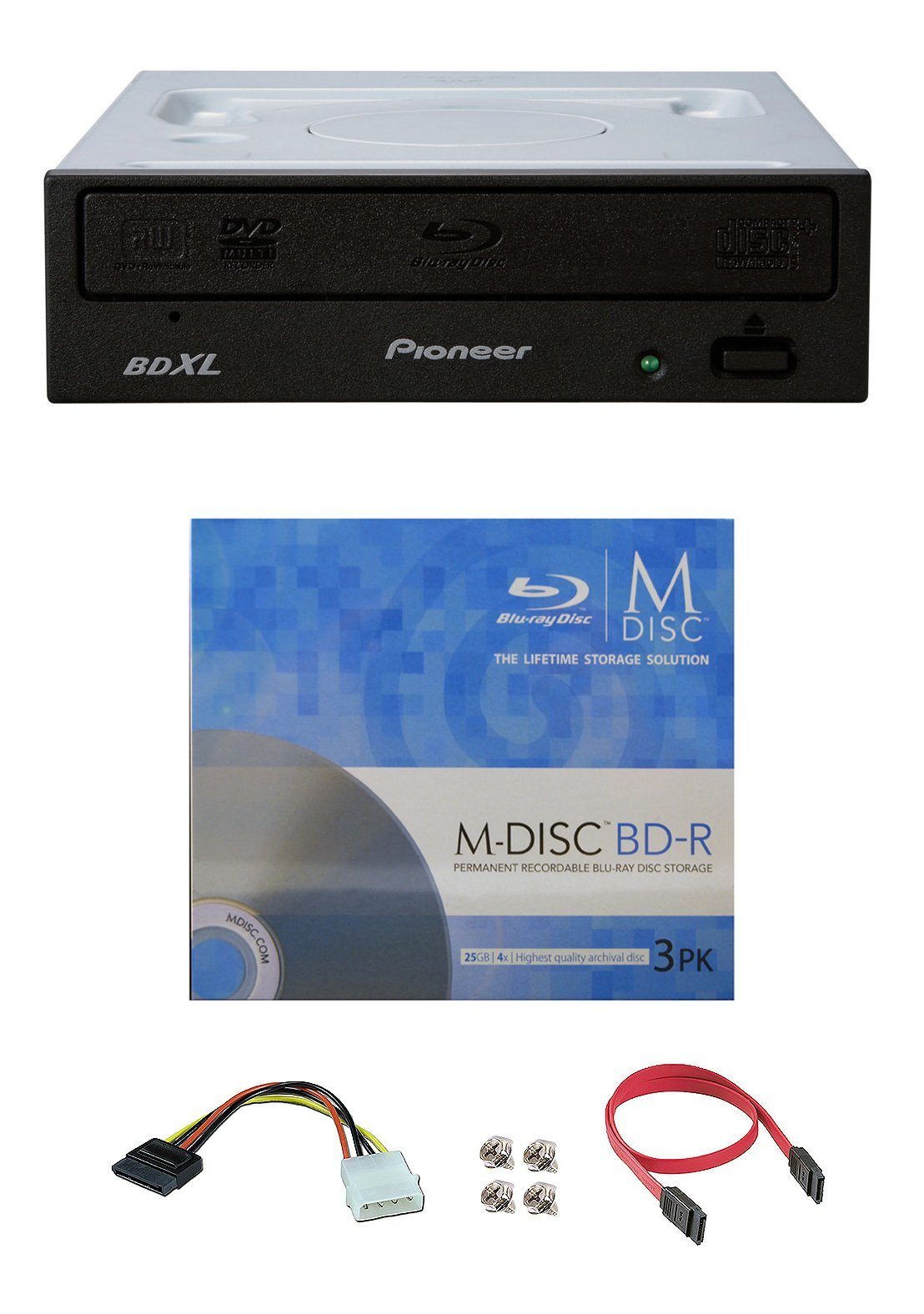 Pioneer 16x BDR-2209 Internal Blu-ray Burner Bundle with 3 Pack M-DISC BD and Cable Accessories (Supports BDXL, SATA Interface)