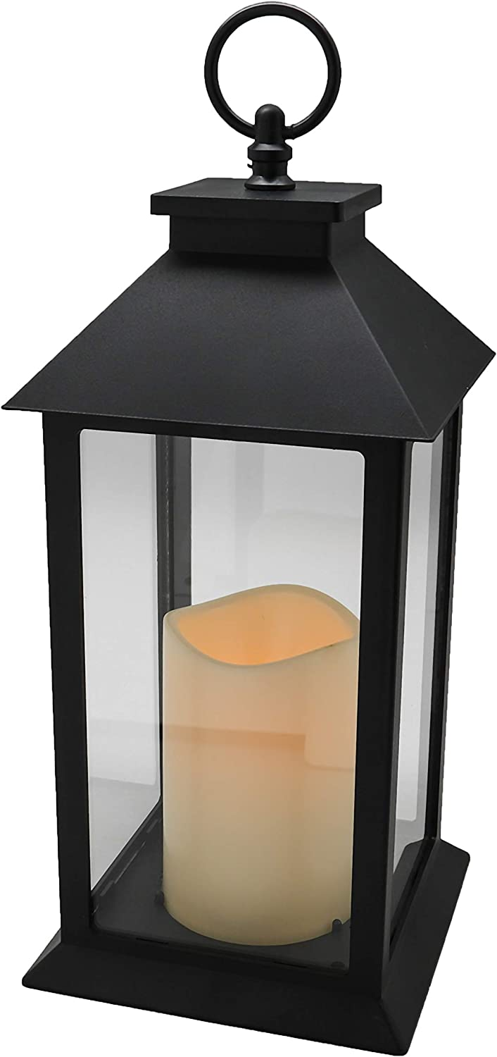 Hanging Glass Panes Lantern Portable Led Candle Light Operated by 3AAA Battery Use for Garden Yard,Kitchen, Indoor & Decoration etc (Black)