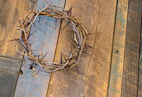 Leyiyi 10x8ft Crown Of Thorns On Wooden Board Backdrop Merry Christmas Jesus Christ Rustic Wood Table