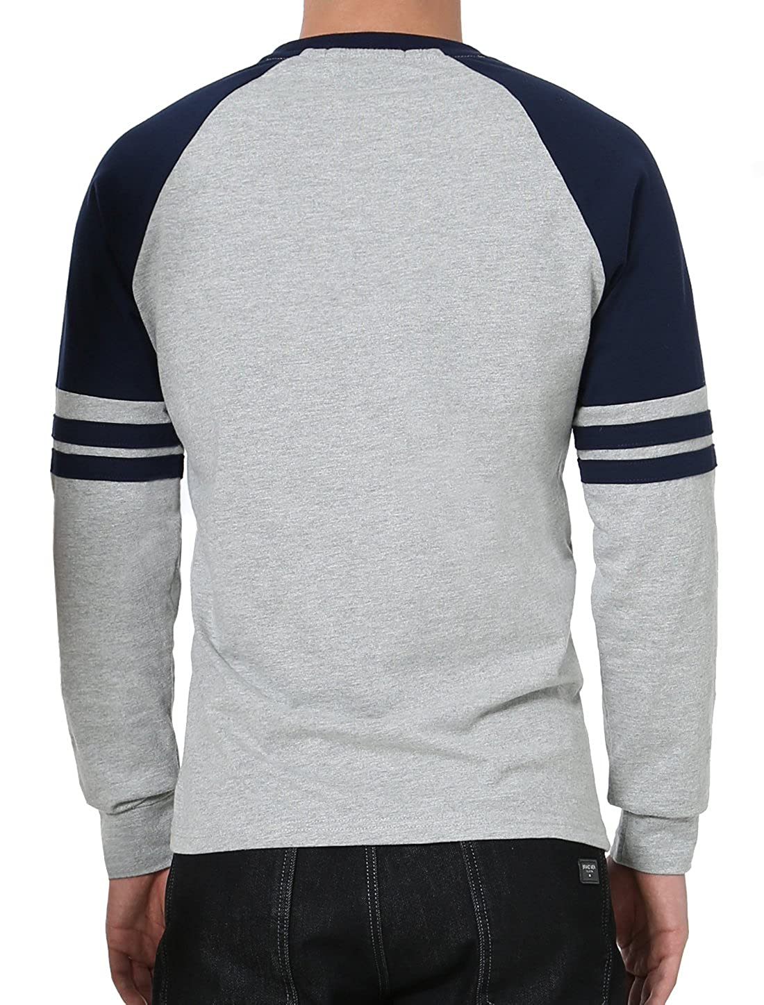 4b5af516f58e78 uxcell Men Causal Long Sleeves Crew Neck Contrast Colorblock Design Stripes  Baseball Raglan T-Shirt | Amazon.com