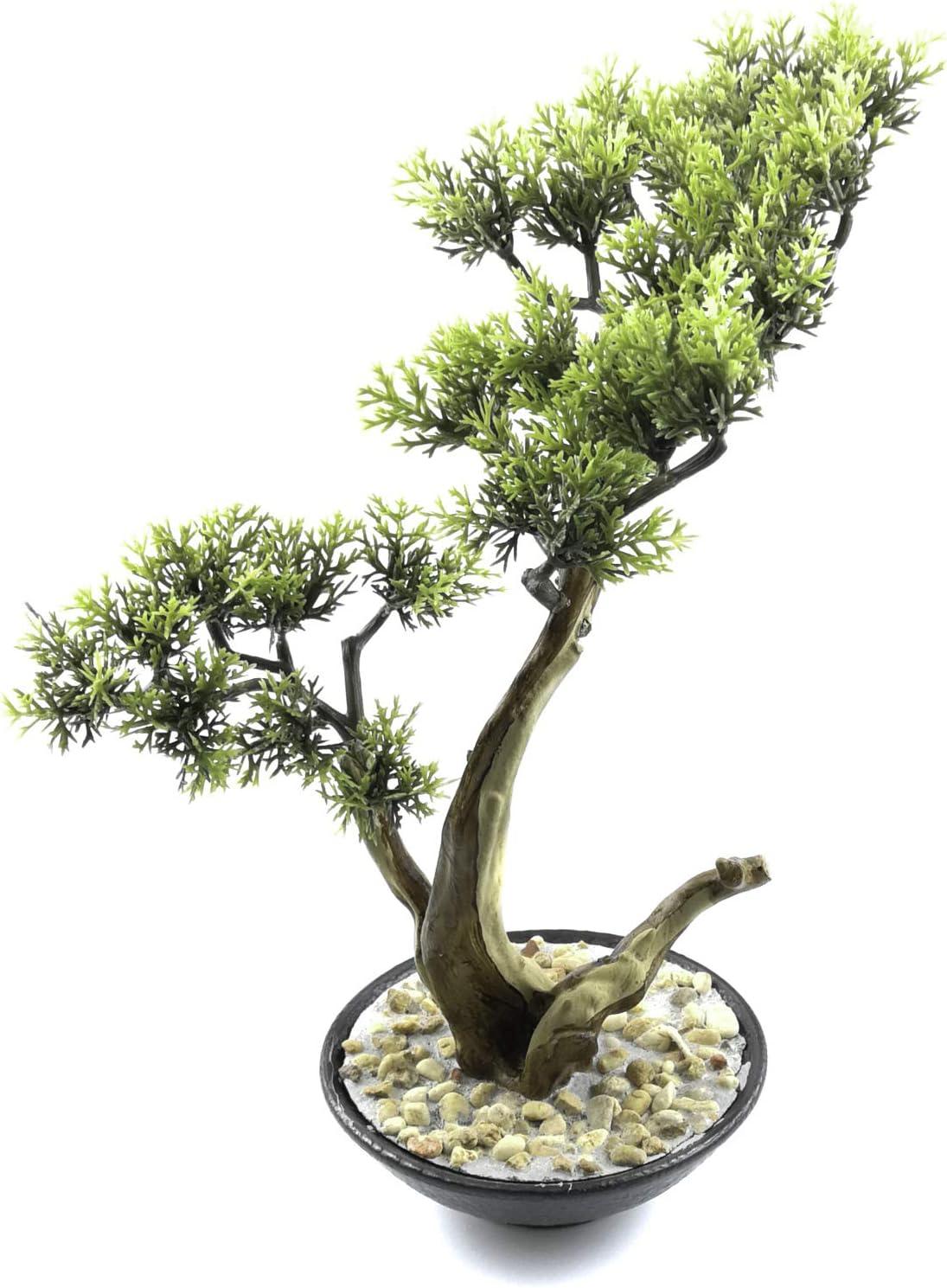 Tuokor Artificial Bonsai Tree 10.5 Inch Tall Small Docorative Cypress Faux Plants in Ceramic Pot