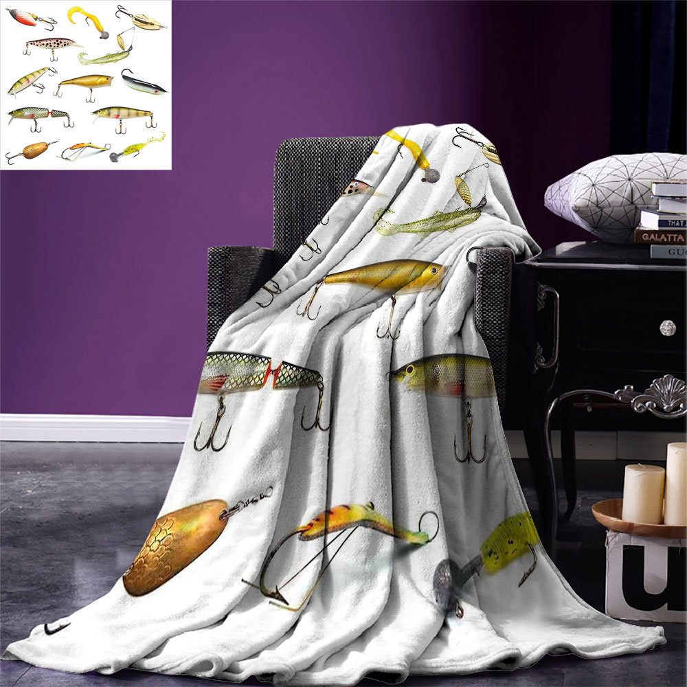 smallbeefly Fishing Weave Pattern Extra Long Blanket Fishing Tackle Bait for Spearing Trapping Catching Aquatic Animals Molluscs Design Custom Design Cozy Flannel Blanket Multicolor