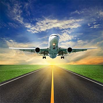 AOFOTO 10x10ft Aircraft Take Off Backdrop Airplane Airport Runway Photography Background Sky Cloud Adult Kid Artistic