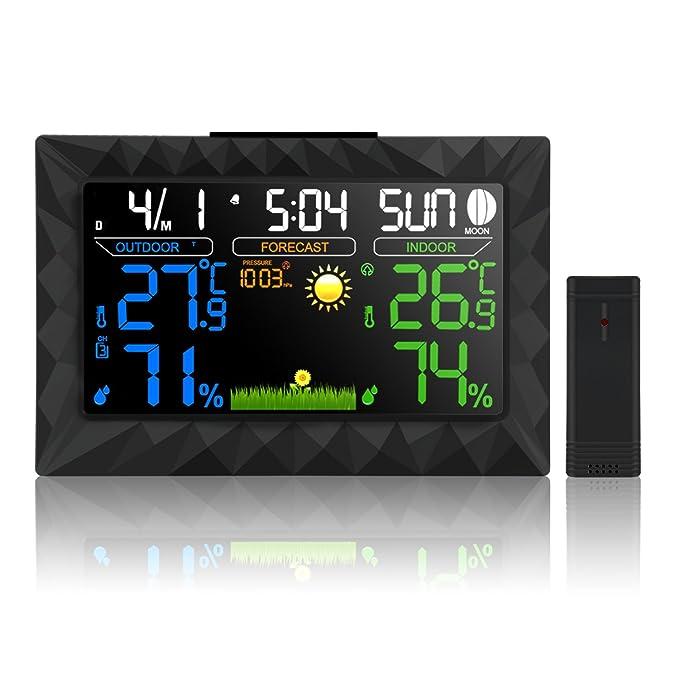 9 opinioni per Lemebo Wireless Colore Schermo LED Indoor Outdoor Stazione Meteo con le