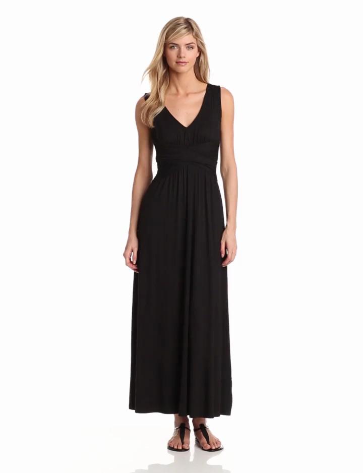 Three Dots Womens Maxi Dress, Black, X Small