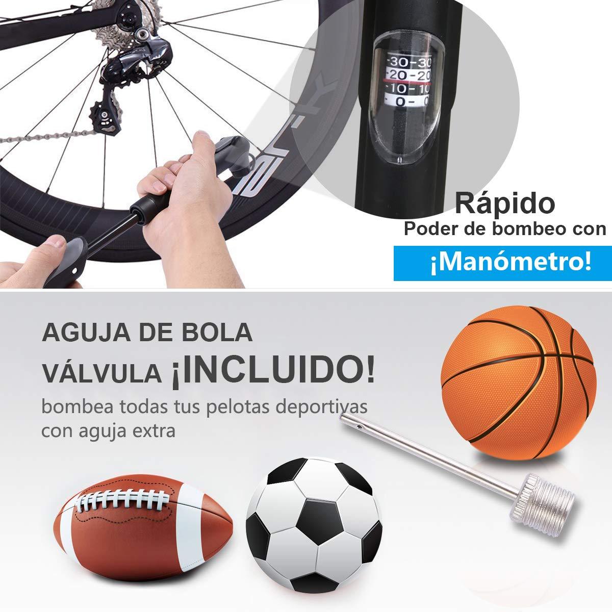 Bomba Para Bicicleta Con Manómetro, [120 PSI] Diyife Mini Bomba De ...