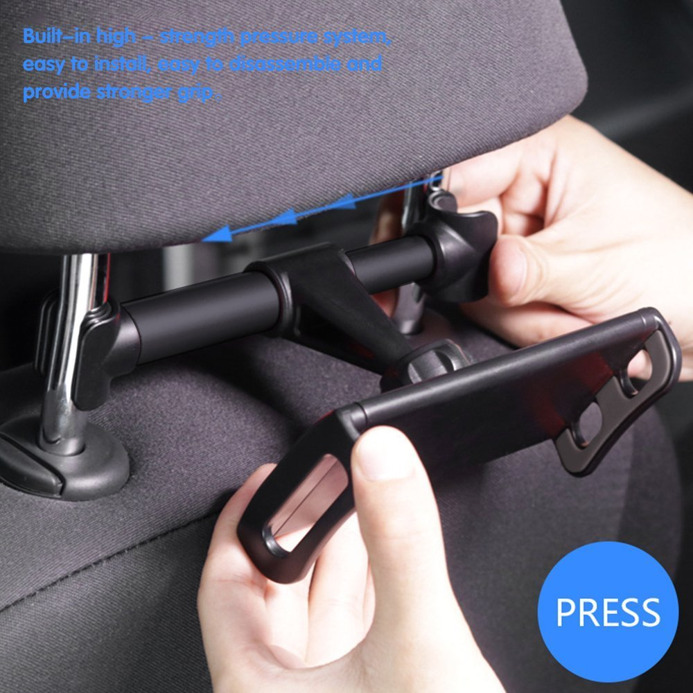 Headrest Phone/Tablet Car Mount, Eschone 360 Degree Rotatable Adjustable Car Seat Cradle Holder for iPad Pro 10.5/9.7/Air/Mini, iPhone X/8 Plus/7/6s, Galaxy Note 8/S8+/S8 (Fit 4-11\