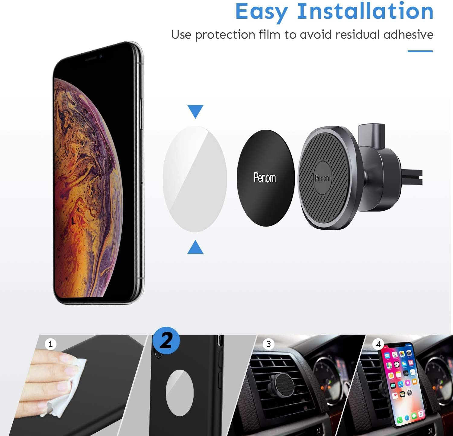 Magnetic Phone Car Mount Penom Cell Phone Holder for Car Universal Air Vent Magnet Car Phone Mount Fits iPhone 11 Xs Max XR X 8 7 6S 6 Plus and Most Smartphones Silver