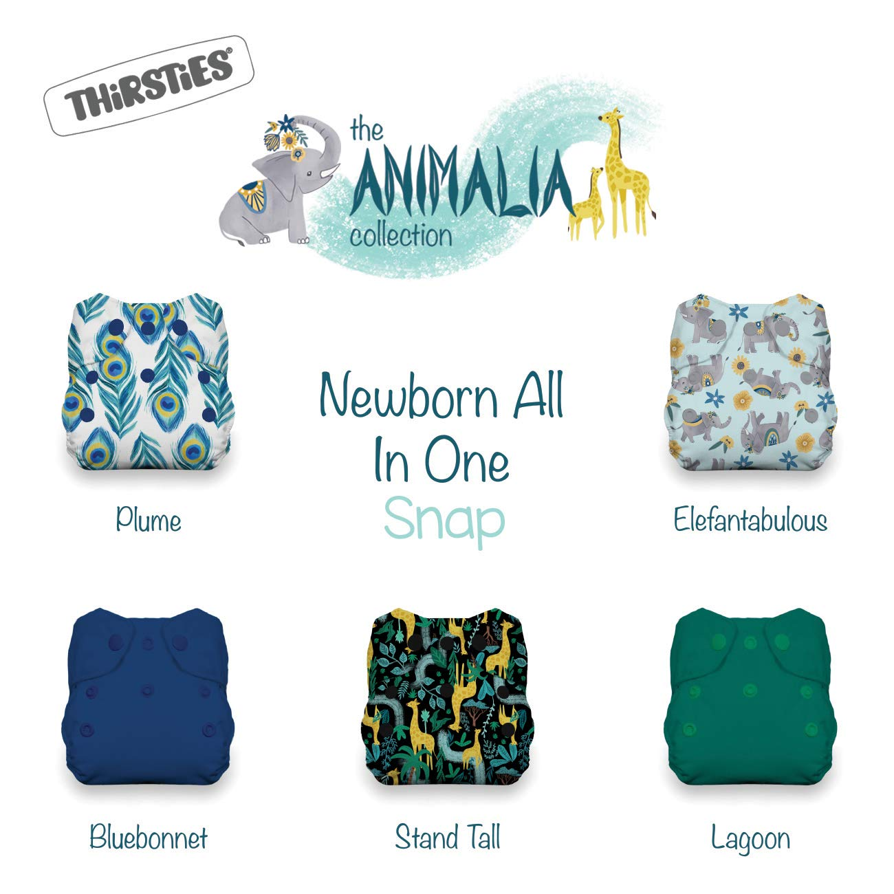 Thirsties Animalia Cloth Diaper Collection Package, Snap Newborn All in One Cloth Diaper, Animalia