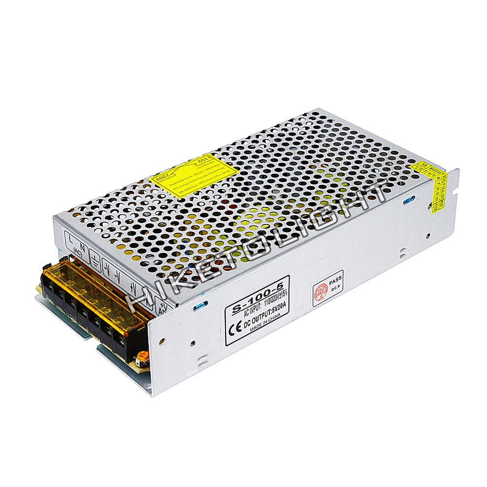 MOVINGTECH LED Power Supply DC Output 5V 20A 100W Aluminum Box Universal Regulated Switching Adaptor Transformer Driver AC Input 110/220V for 5V LED Strip Module CCTV
