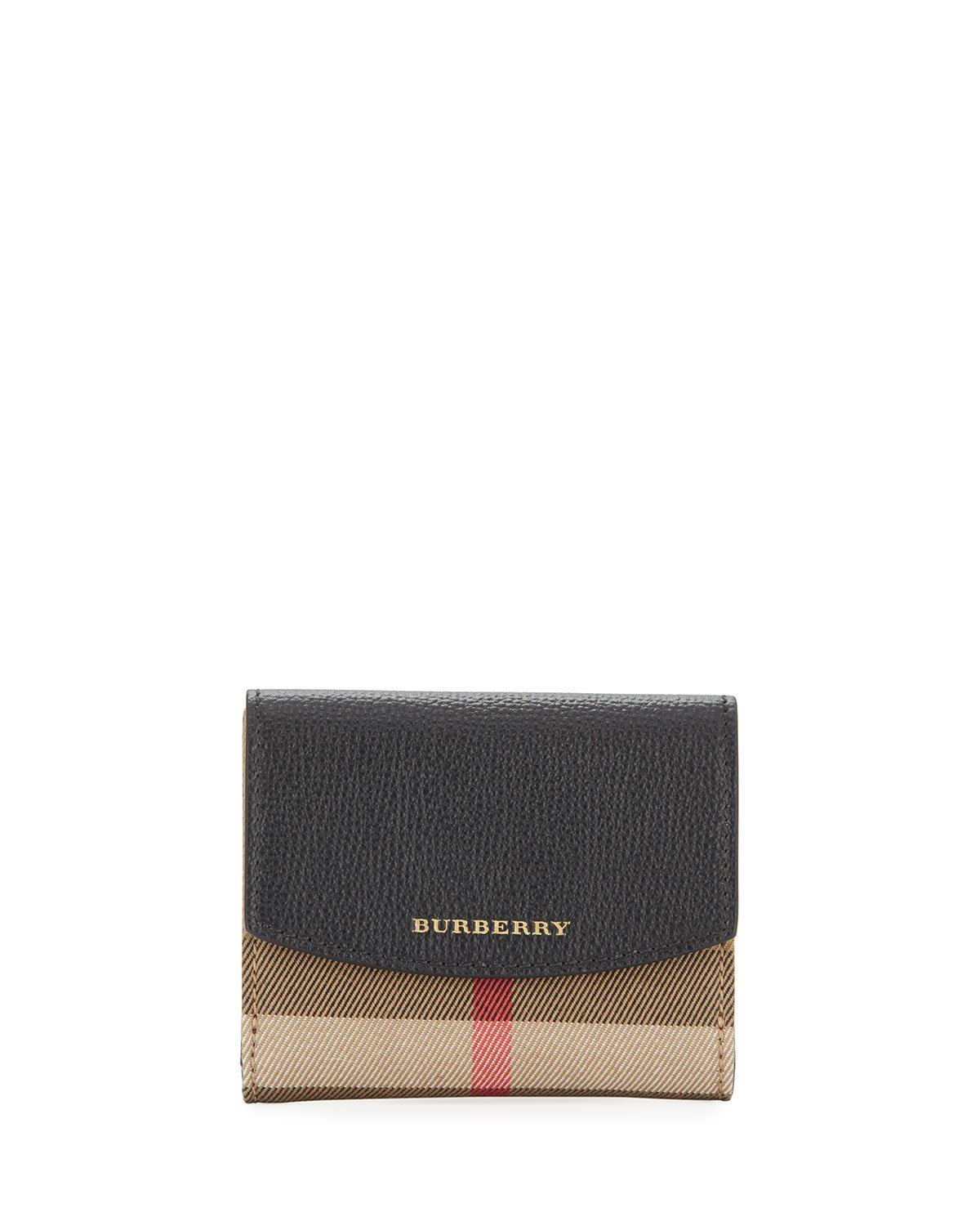 Burberry Luna Small Leather & Check French Wallet, Black